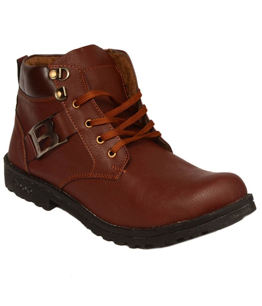 Signet India Brown Synthetic Leather Boots