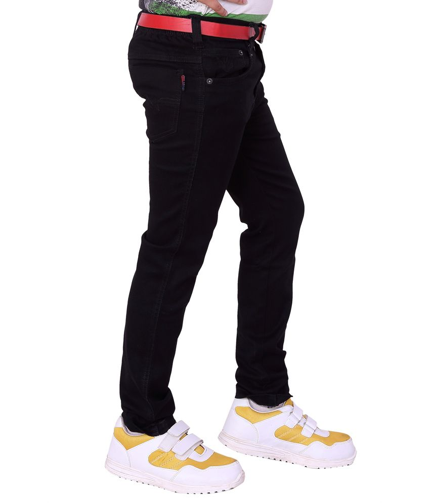 Utex Satin Finished Silky Denim Elastic Pure Black Jeans Pant for ...