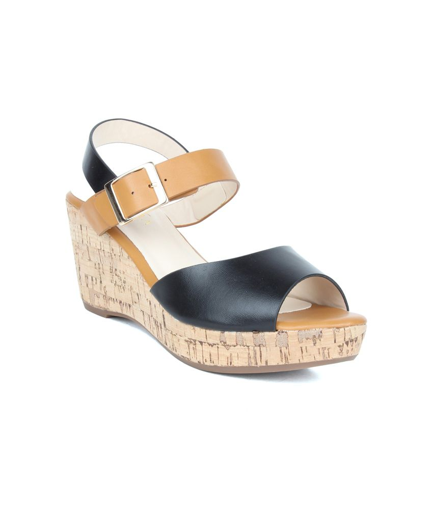 aa8add76f6b Valiosaa Black Medium Heel Wedges Price in India- Buy Valiosaa Black Medium  Heel Wedges Online at Snapdeal