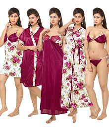 Go Glam Pink Satin Nighty & Night Gowns Pack of 6