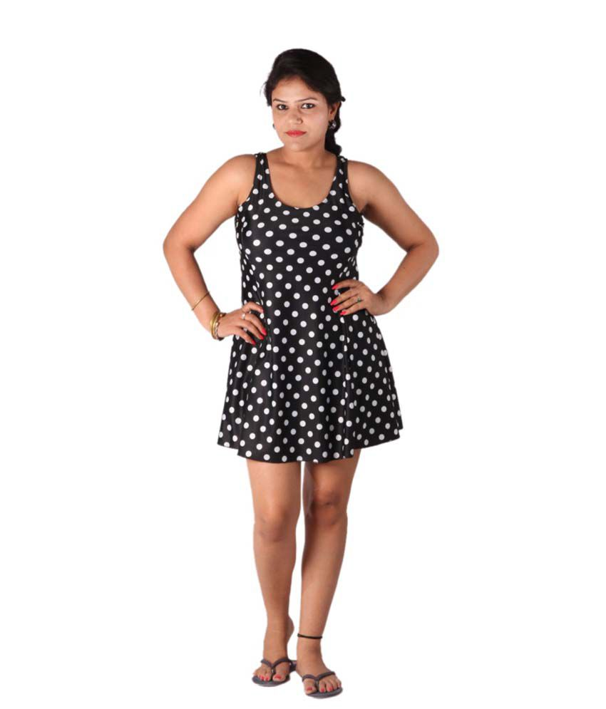Indraprastha Black Polka Dotted Swimsuit/ Swimming Costume