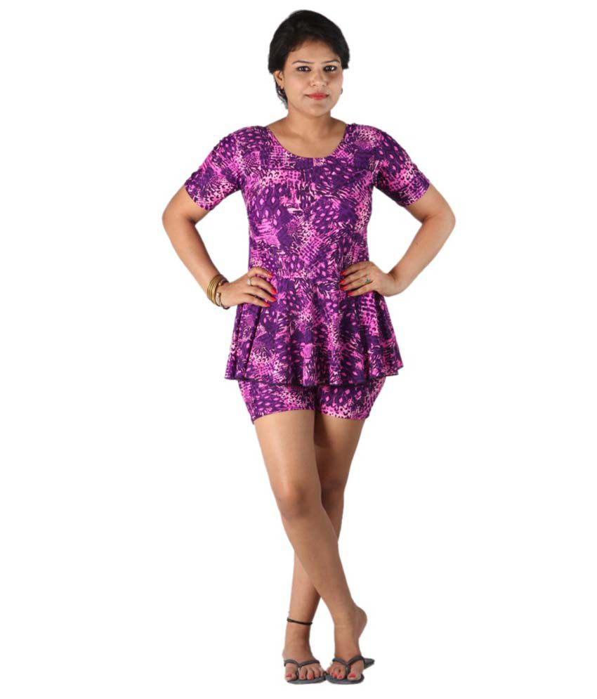 Indraprastha Printed Swimsuit With Shorts/ Swimming Costume