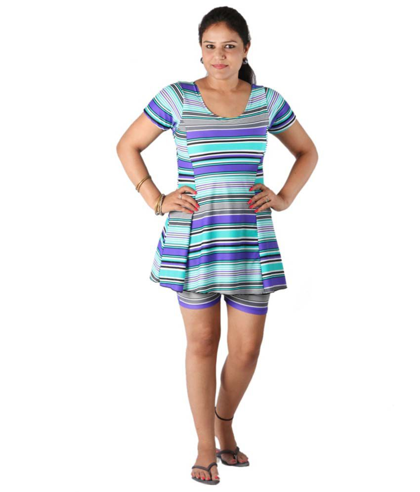 Indraprastha Striped Swimsuit With Shorts/ Swimming Costume