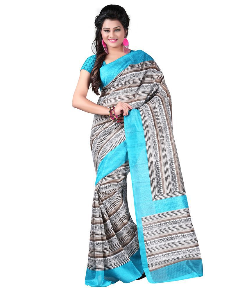 Lookslady White Bhagalpuri Silk Saree