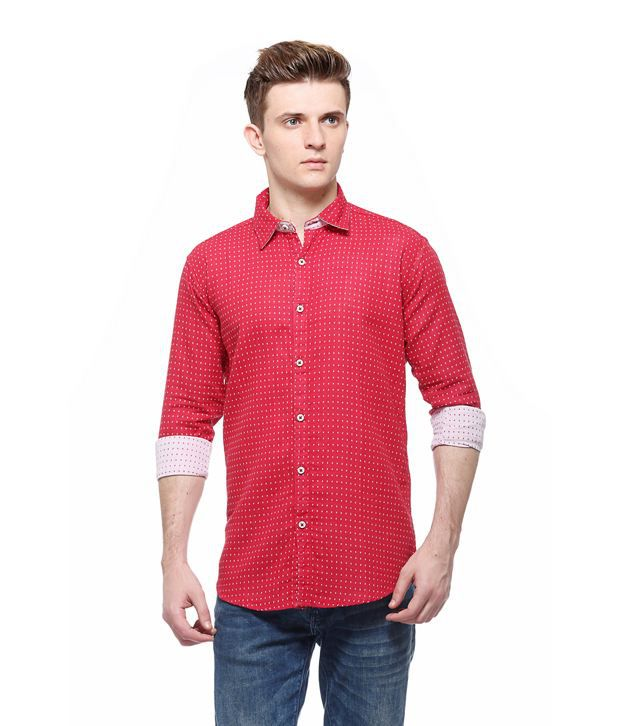 7 tailor reversible red and white cotton slim fit full for Cost to tailor a shirt