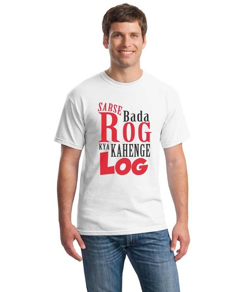 Inkvink Clothing White Cotton Round Neck Printed T-Shirt