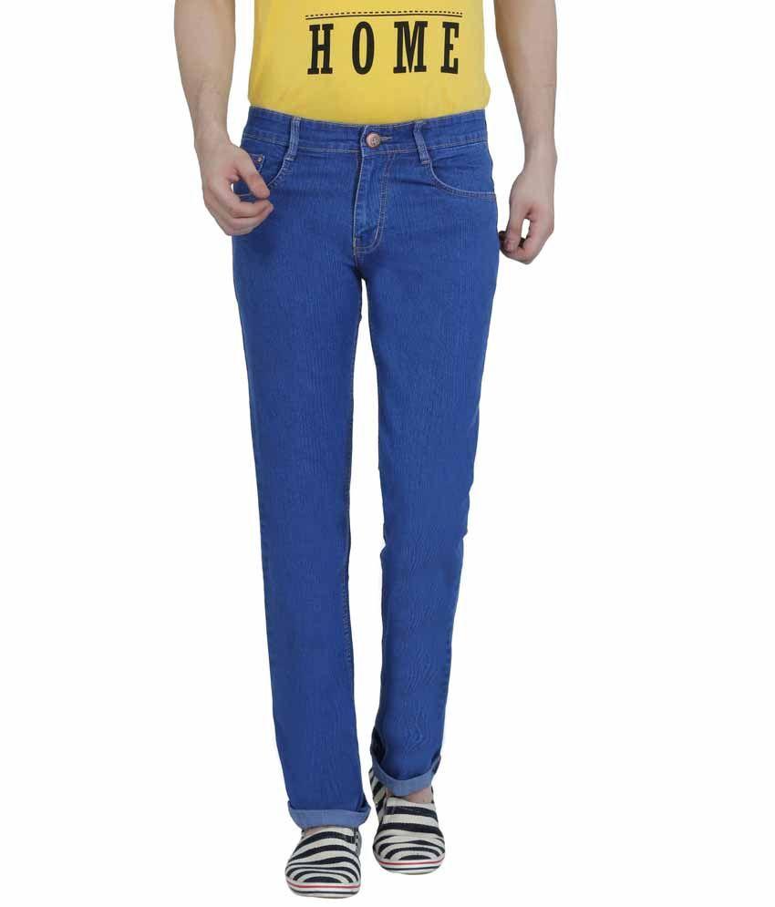 Louppee Blue Cotton Blend Regular Fit Jeans For Men