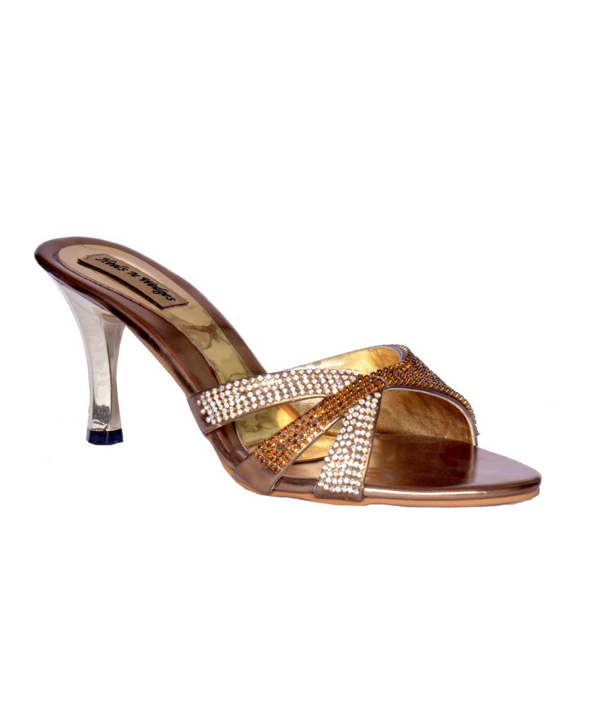 Heels N Wedges Gold Faux Leather Party Wear Slip On
