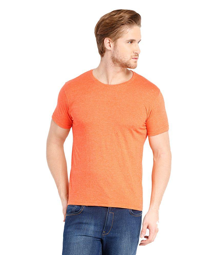 Highlander Orange Cotton Blend Round Neck T-Shirt