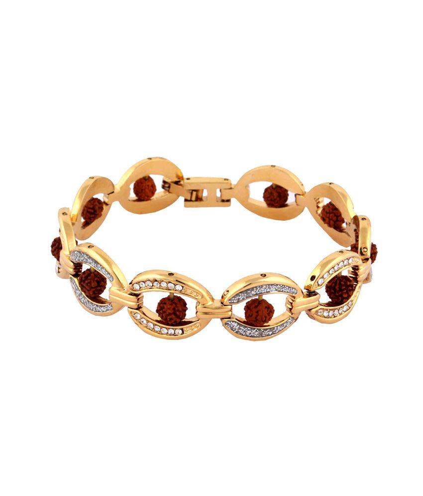 The Jewelbox Rudraksh American Diamond Oval 22K Gold Plated Premium Bracelet