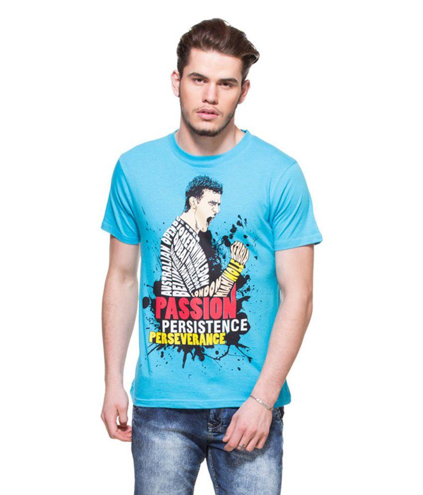 Zovi Blue Printed Round Neck T-shirt
