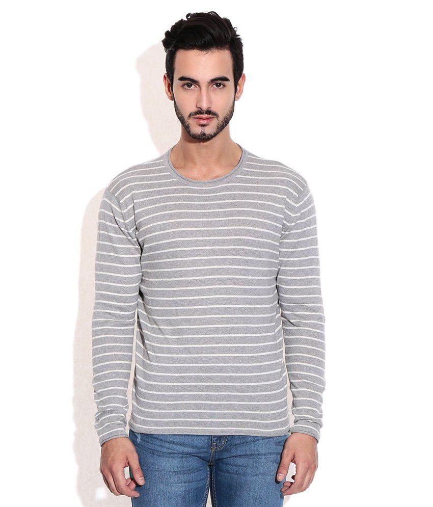 American Swan Gray Round Neck T-Shirt