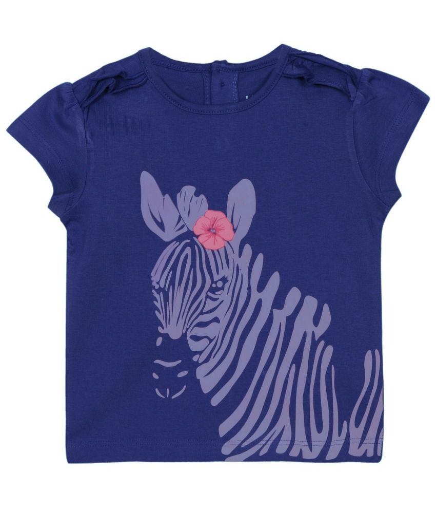 Baby pure infant girls blue t shirt with print buy baby for Newborn girl t shirts