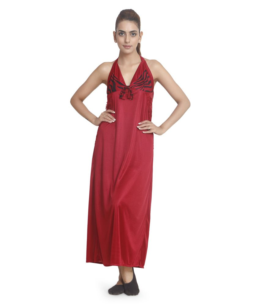 Ellryza Maroon Satin Nighty & Night Gowns Pack of 2