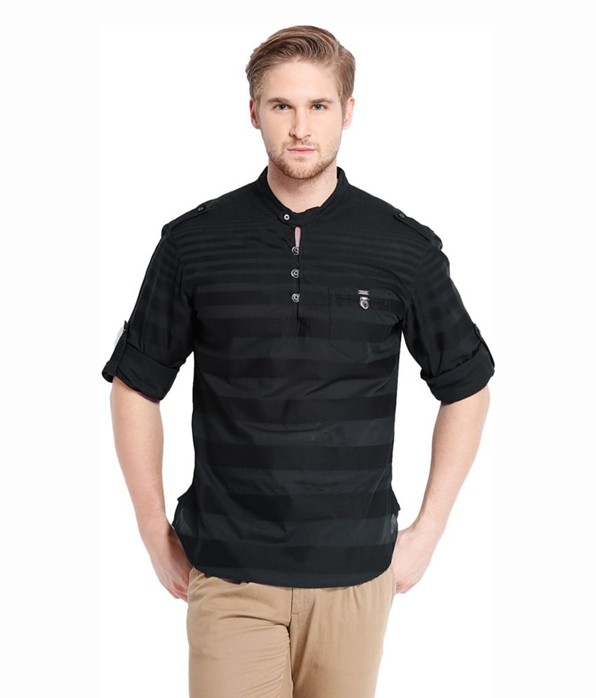 Locomotive Cotton Blend Henley Neck Black T-Shirt