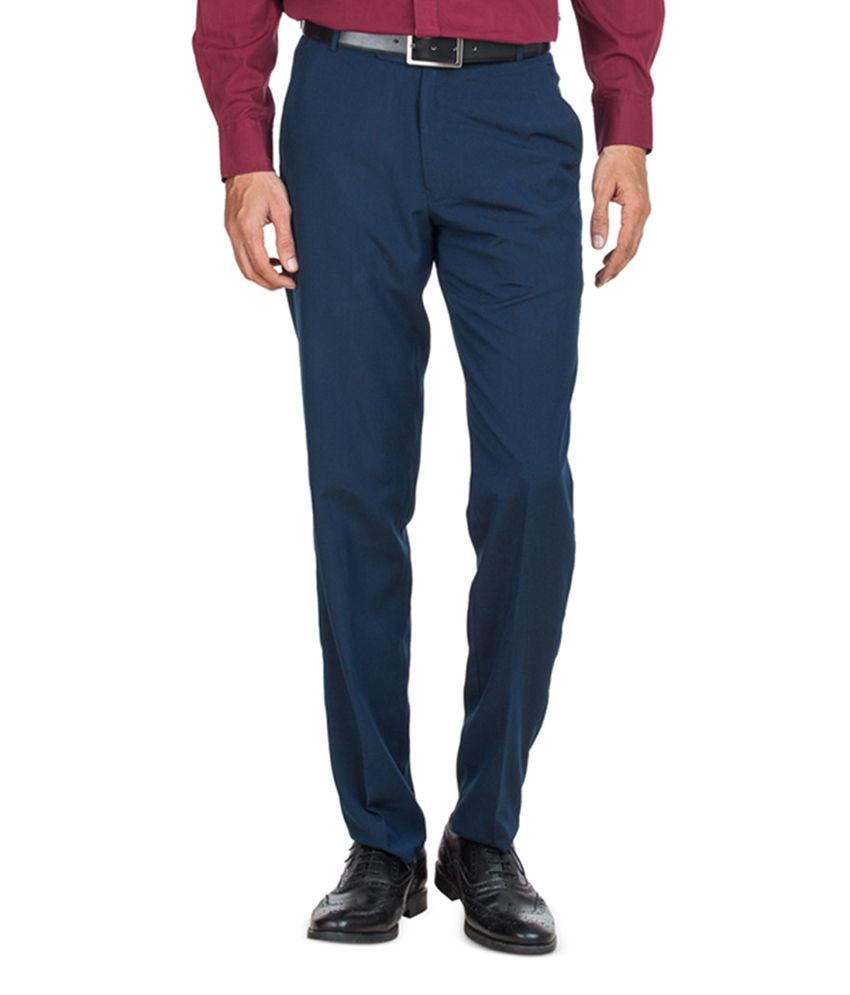 Zovi Straight Teal Solid Blue Mens Formal Trouser