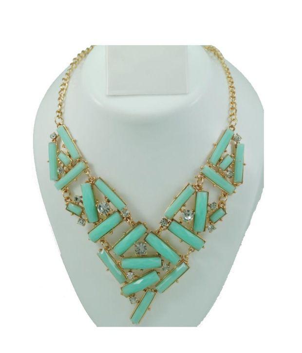 JewarPot Green Contemporary Design Necklace Set