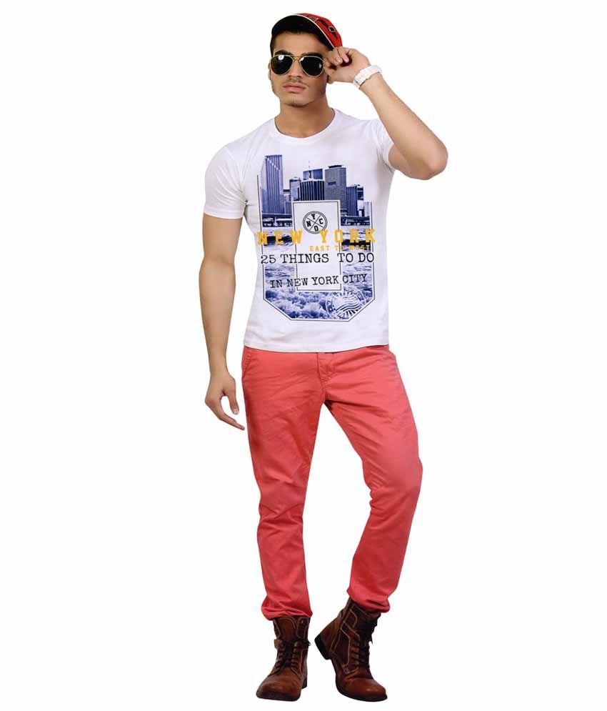 RIO 85 White Cotton Round Neck Printed Slim Fit T-Shirt