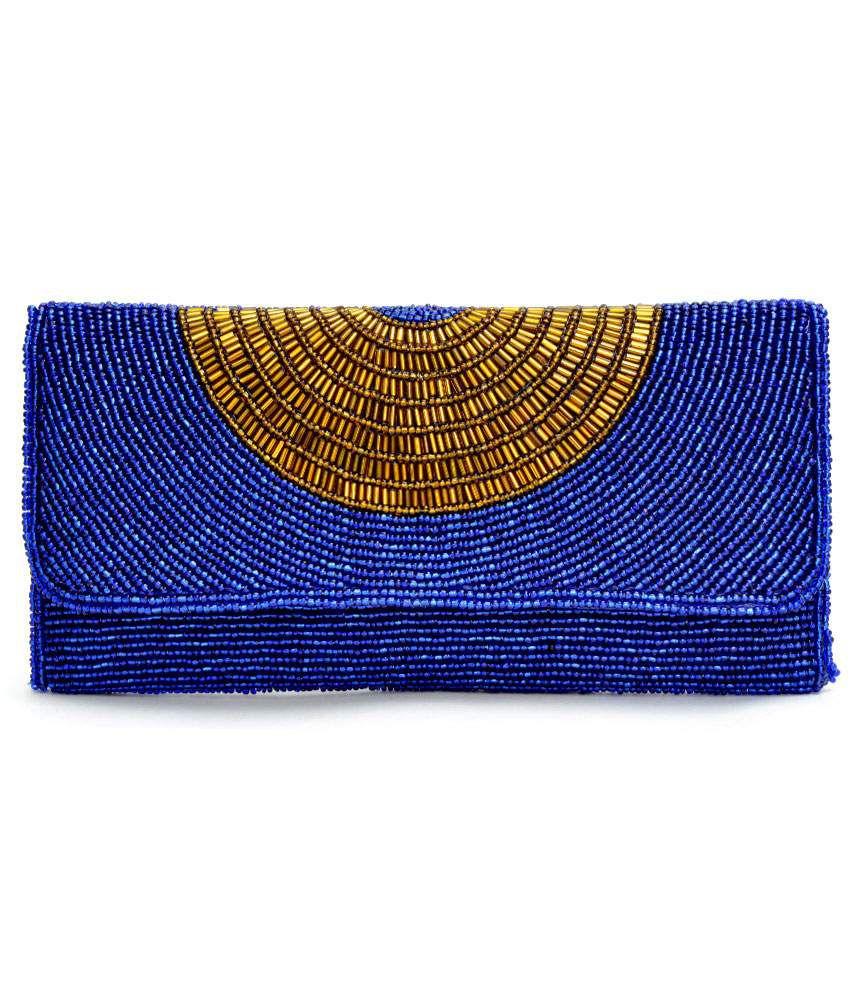 Fashion Mark Blue Silk Clutches