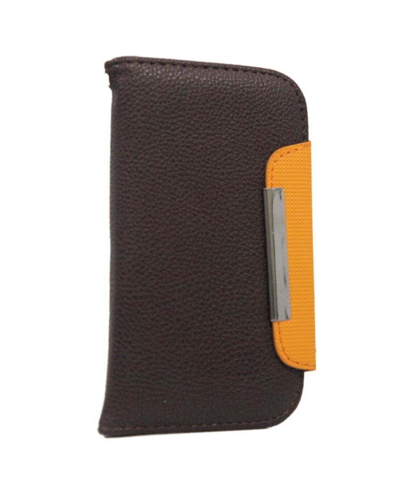 Jo Jo Z Series Magnetic High Quality Universal Phone Flip Cover Case for Samsung Metro Duos C3322 - Brown / Orange
