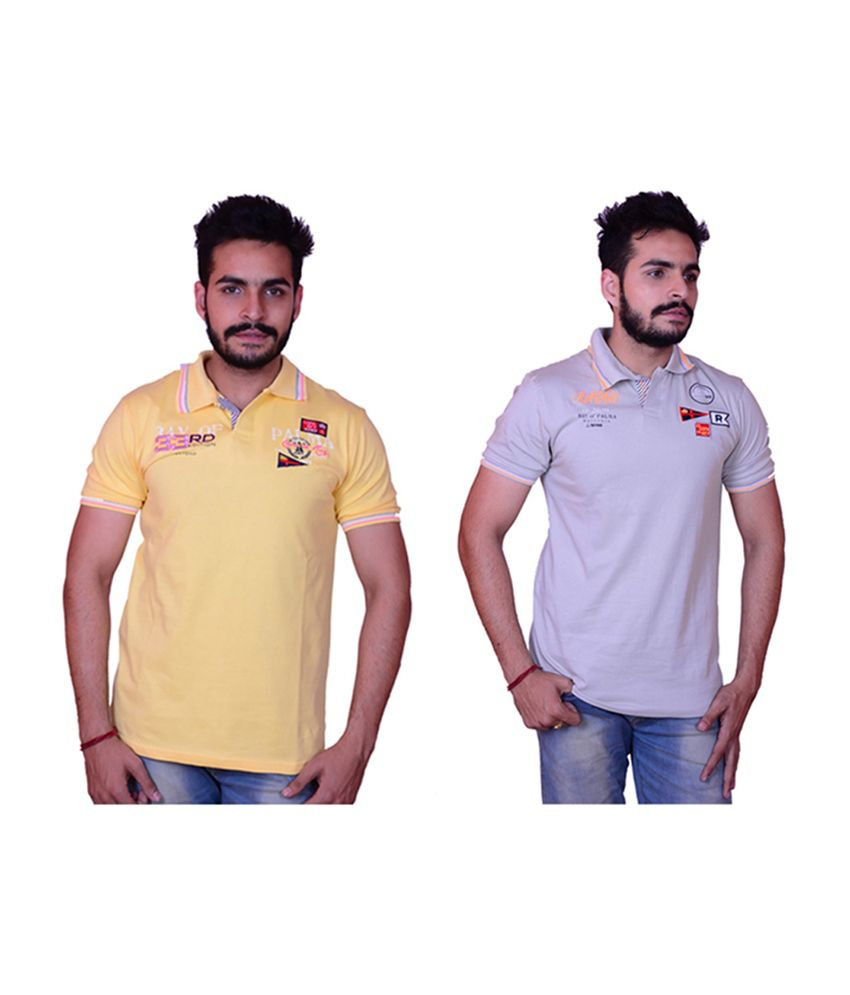 Inez Grey & Yellow Printed Polo T-Shirts (Pack of 2)