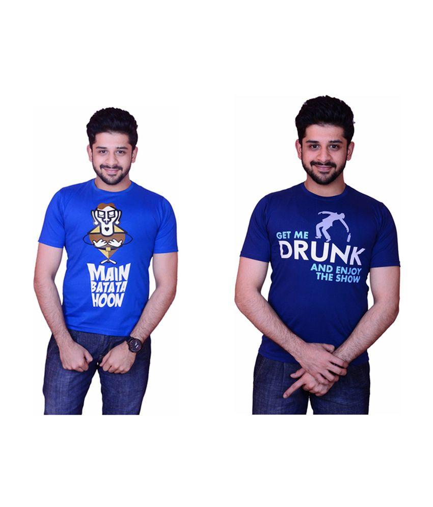 Inez Light & Dark Blue Printed Round Neck T-Shirt (Pack of 2)