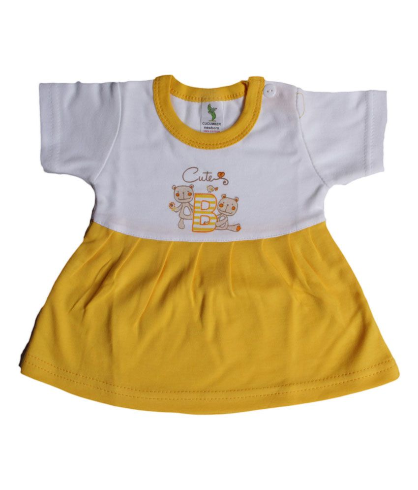 Cucumber Yellow Knee Length Frock for Kids ...