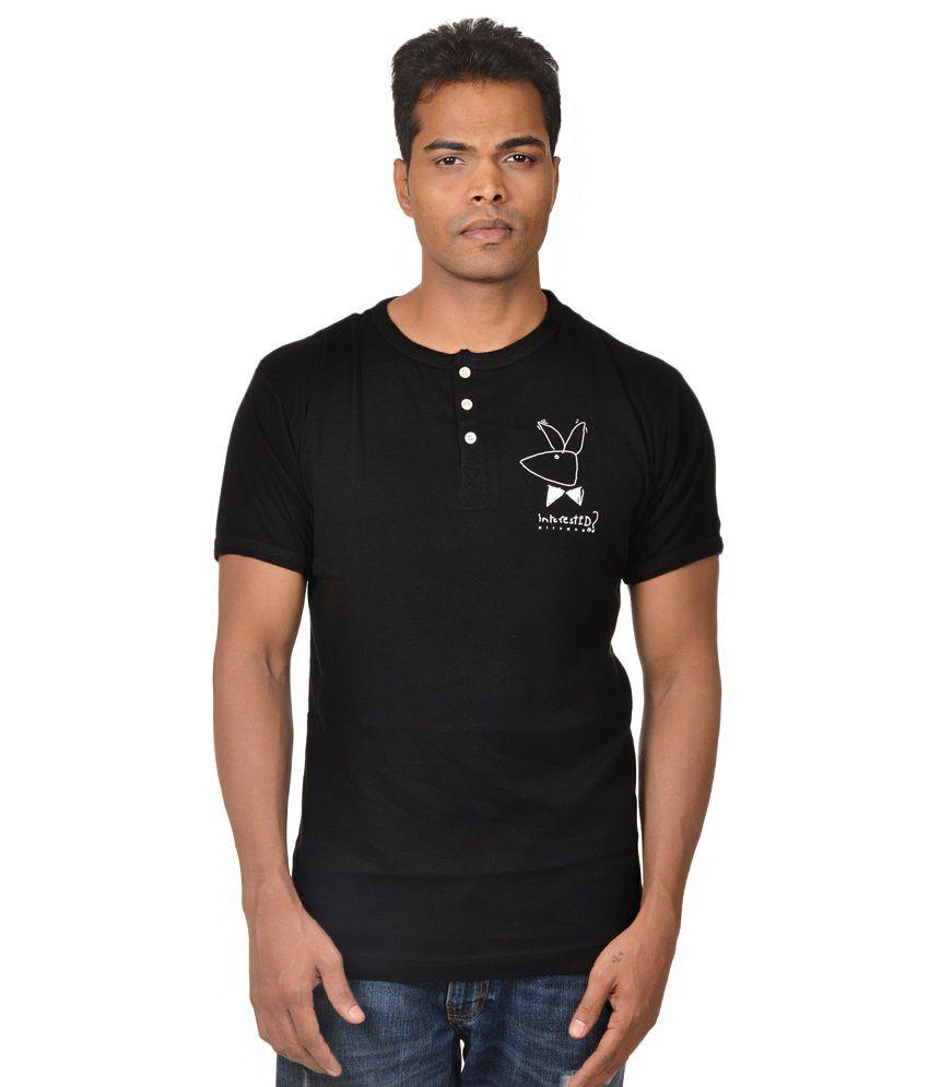 Nirvana Interested Mens Black Colour Round Neck Tshirt