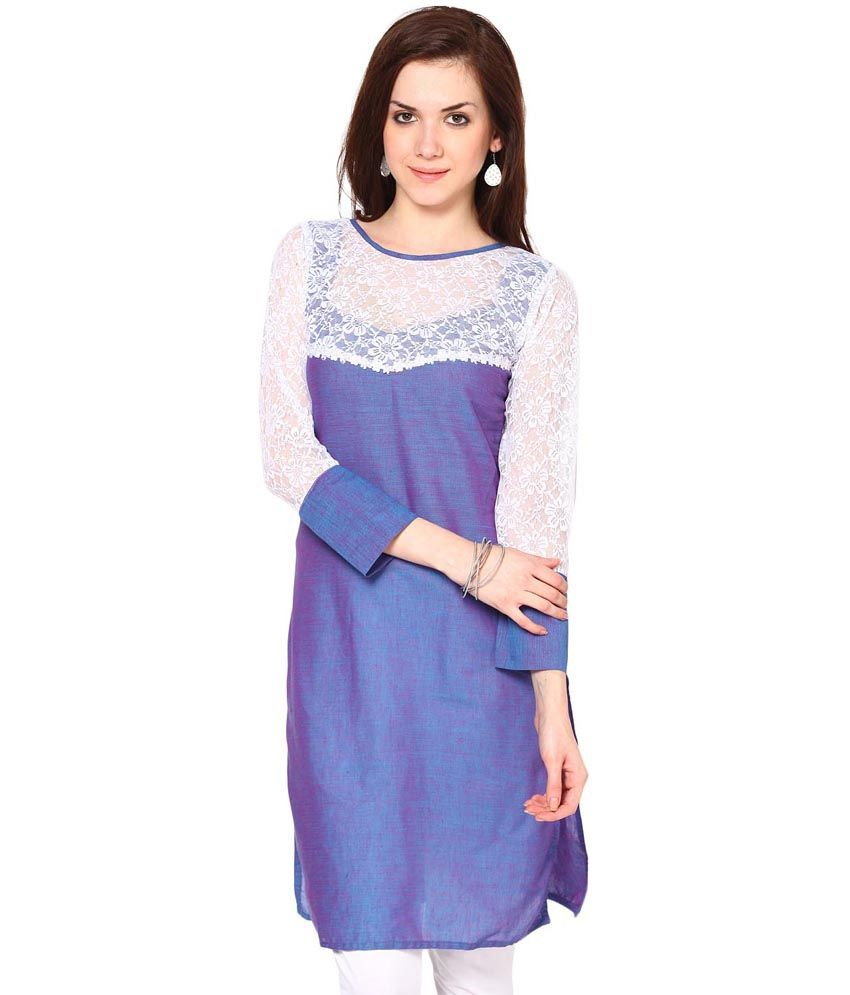 Abhishti Blue Cotton Boat Neck Kurti