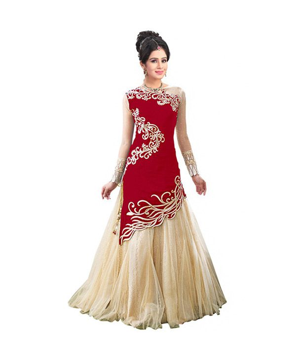 Bridal villa red net unstitched dress material buy for Wedding dress material online