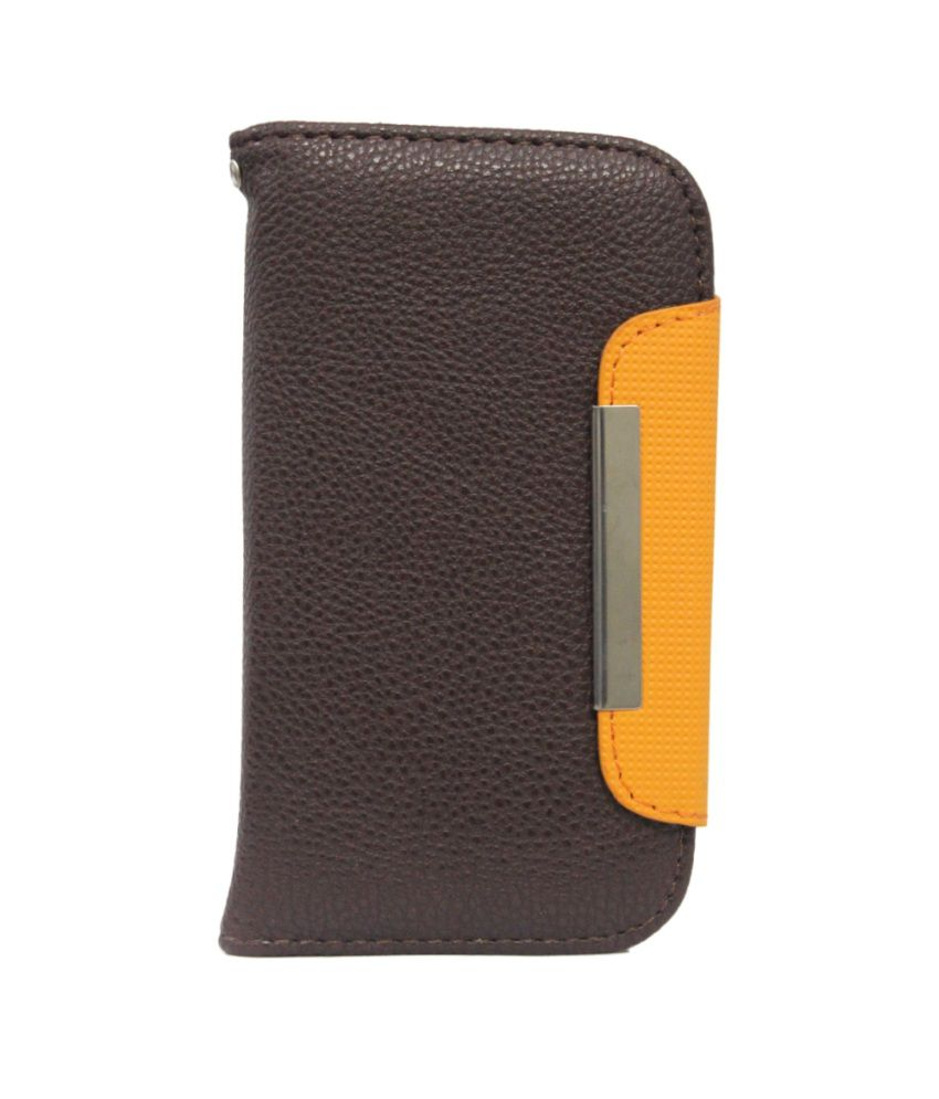 Jo Jo Z Series Magnetic High Quality Universal Phone Flip Case Cover For Iball Andi 5K Sparkle Brown Orange