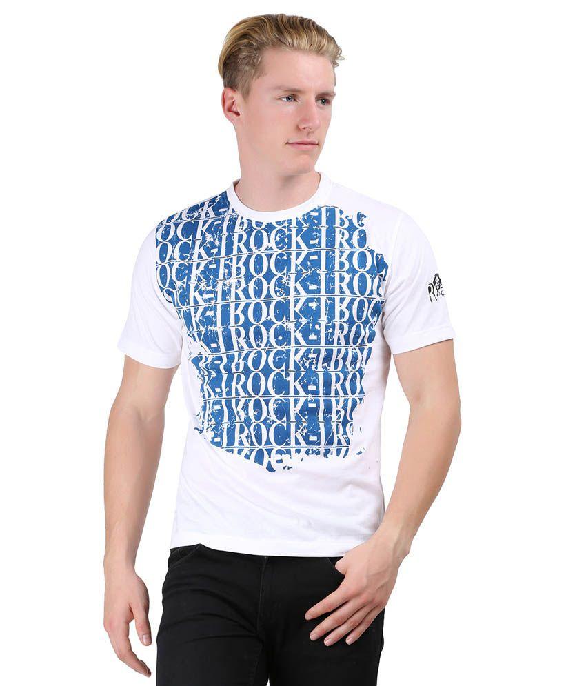 Rock I White Cotton Blend Half Sleeves Round Neck T-shirt
