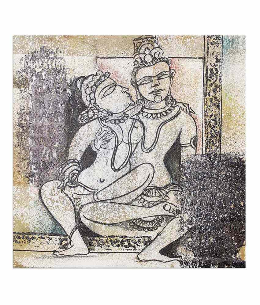 Painting Mantra Khajurao Painting Canvas Print Wall Hanging