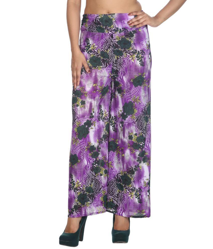Rajrang Purple Viscose Trousers