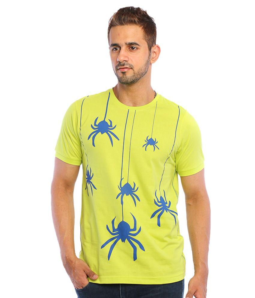 Web Machinez Lime Green Cotton Round Neck Printed T Shirt
