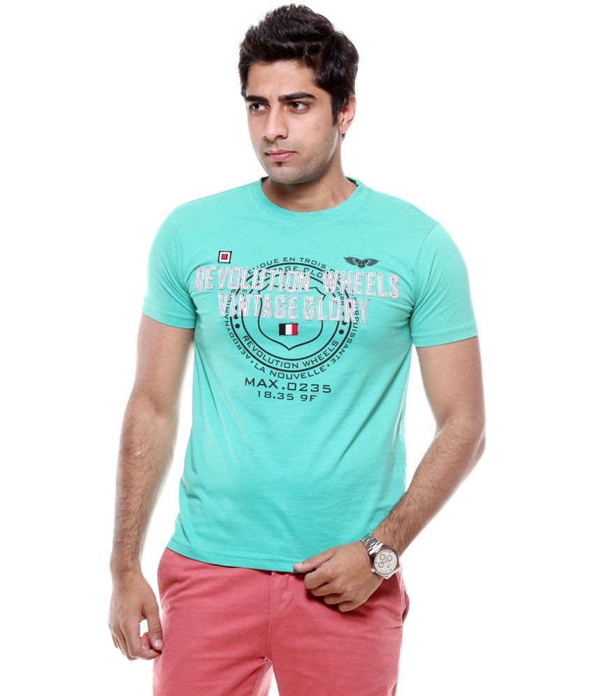 Fmd Green Cotton Round Neck T-Shirt