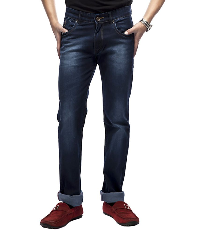 Latino 68 Blue Cotton Faded Jeans