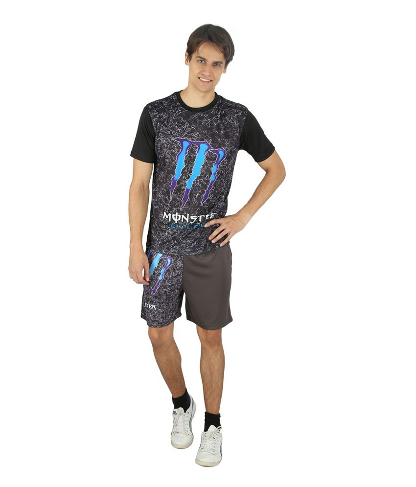 Monster Blue Polyester Round Neck Half Sleeves T Shirt
