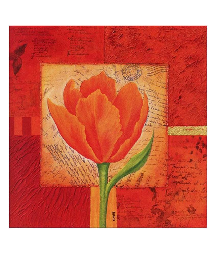 Painting Mantra Orange Flower Painting Canvas Print Wall Hanging