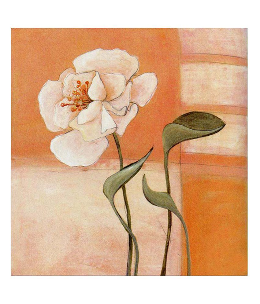 Painting Mantra White Flower Painting Canvas Print Wall Hanging