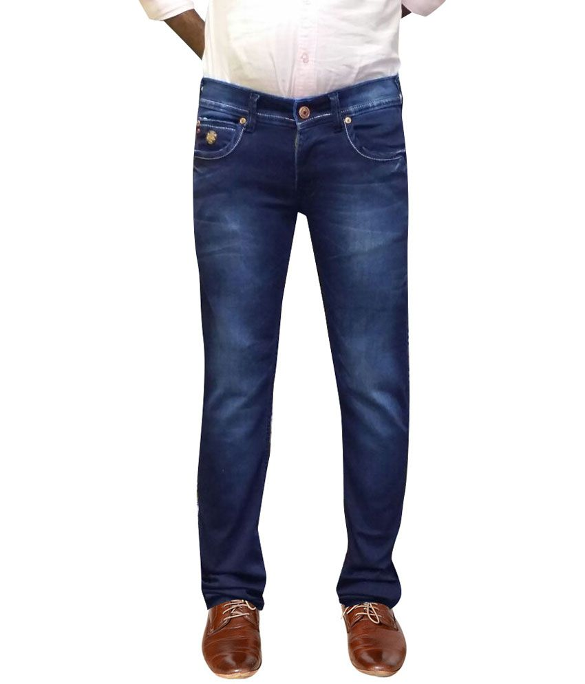 Bir Jeans Blue Cotton Blend Faded Slim Fit Jeans