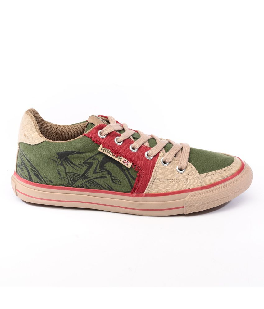 bd053572c Reebok Green And Khaki Canvas Casual Shoes For Men - Buy Reebok ...