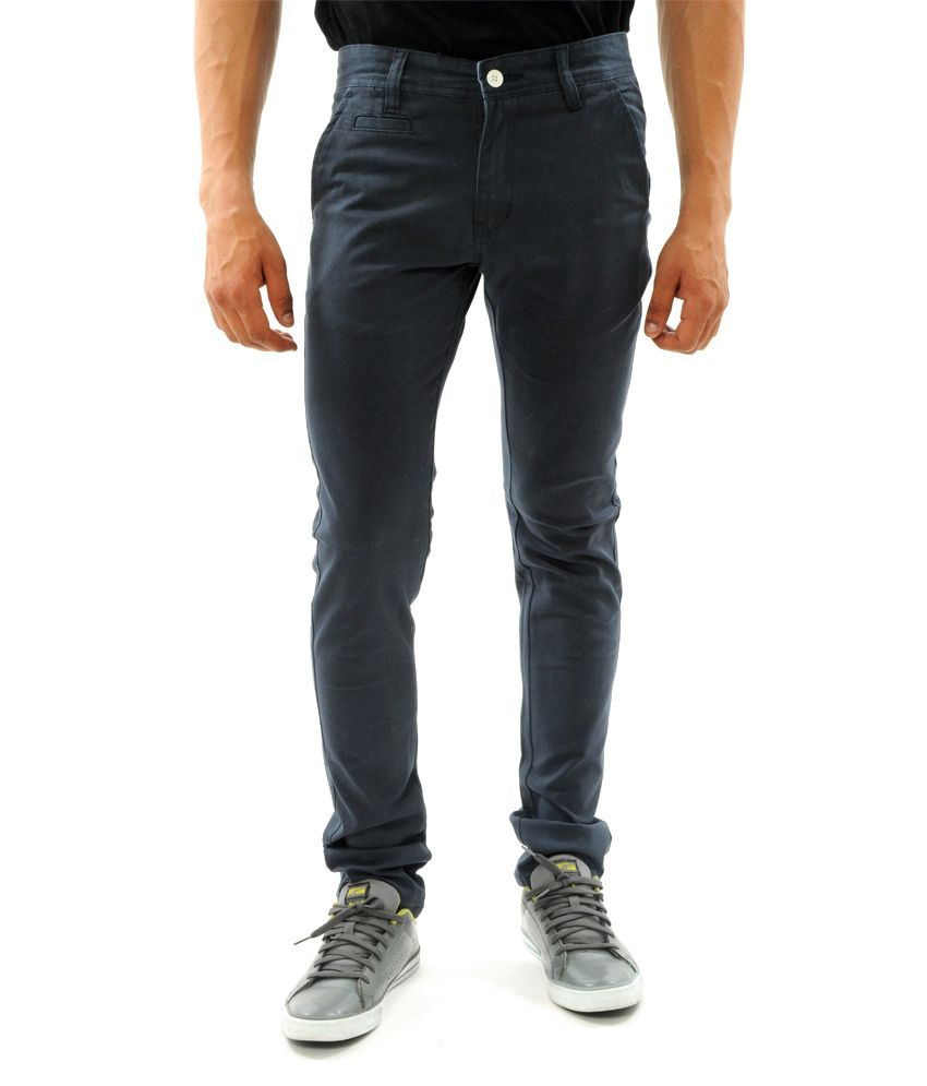 Sny Hind Outfitters Navy Cotton Lycra Slim Fit Chino