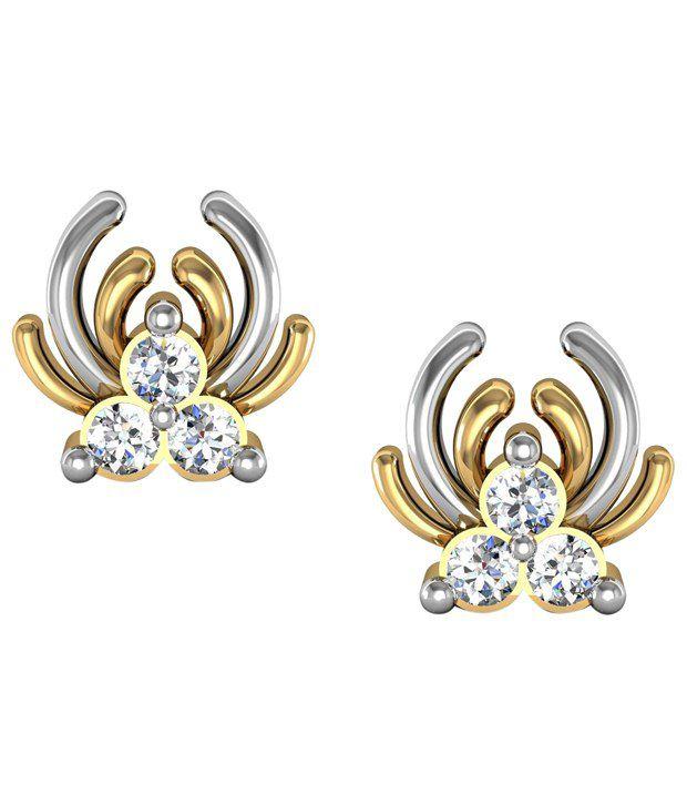 Avsar Lovely 18kt Gold & Real Diamond Stud Earrings