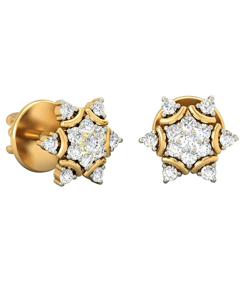 The Mireille Diamond Earrings 14KT Gold WearYourShine by PC Jeweller