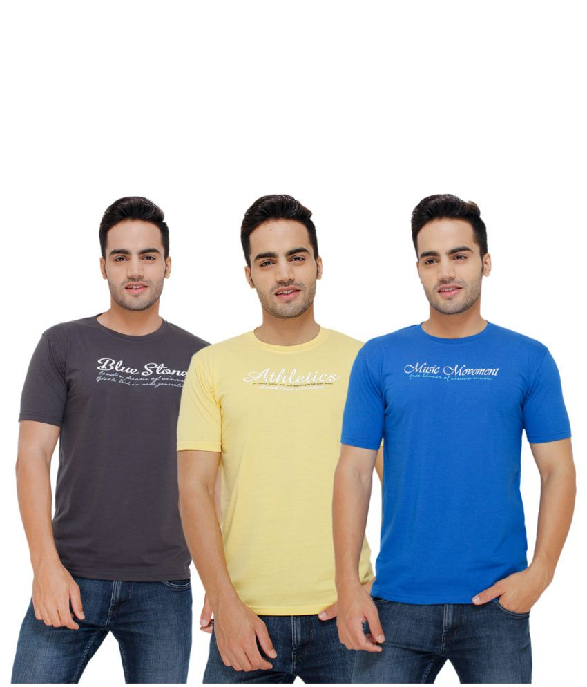 Eprilla Multi Coloured Cotton T-shirts (Pack Of 3)