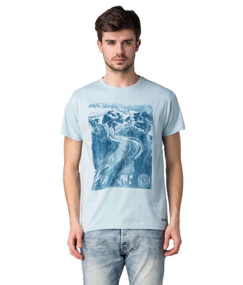 Innersip Blue Om Mountain Printed Cotton Half T-shirt