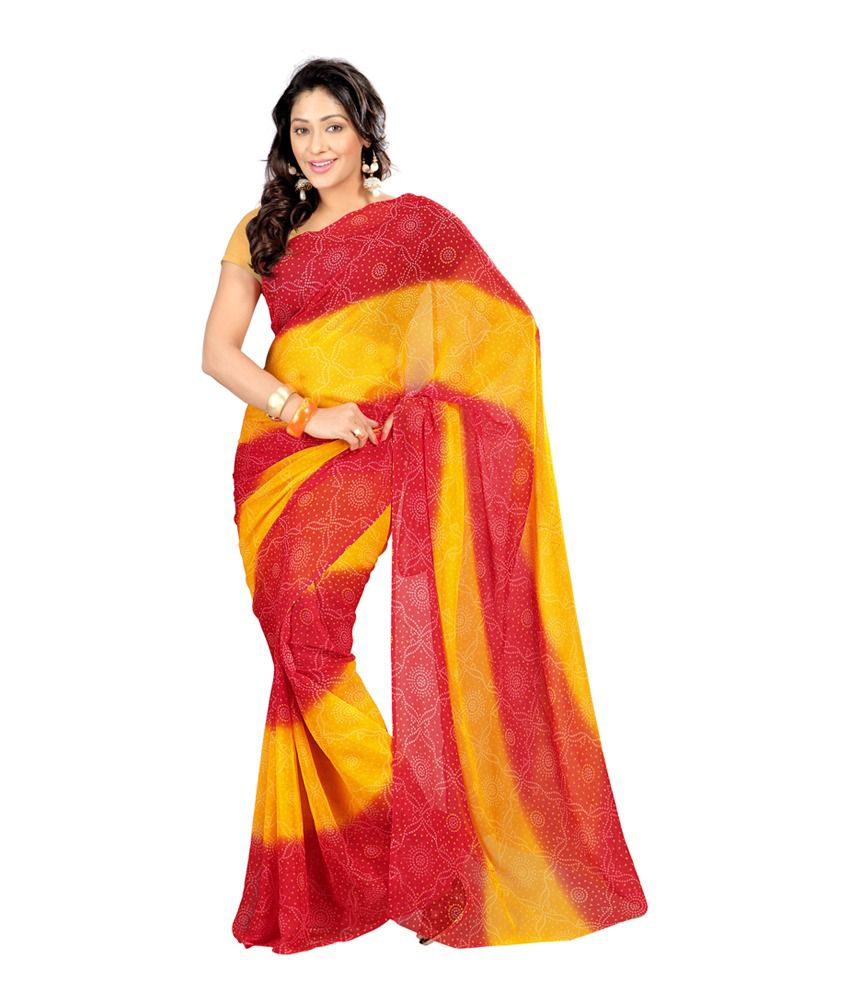 Nanda Silk Mills Red Georgette Saree