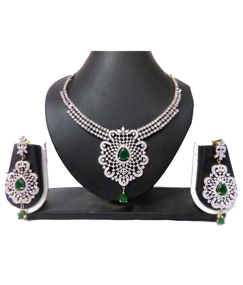 Shourya Exports Multicolour American diamonds Necklace Set