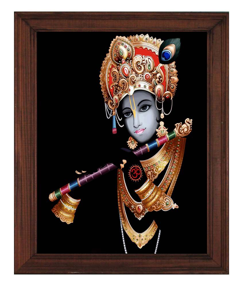 Sleepnature Textured Krishna with Flute Canvas Portrait Painting